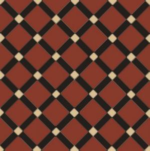 Canterbury - Viktorianske gulvfliser - Rød/svart/cognac