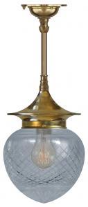 Taklampa - Dahlbergspendel 100 mässing klarglas droppe