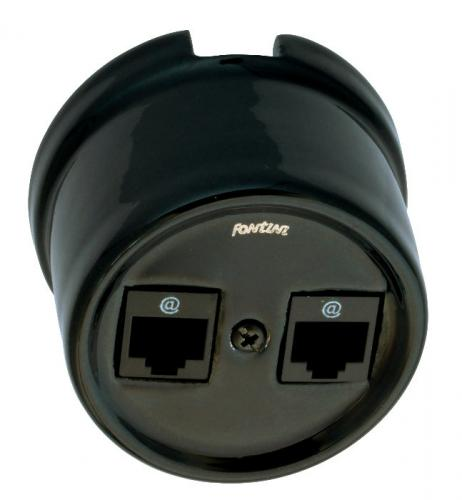 Double RJ45 Socket - Black porcelain surface mounting - old fashioned style - vintage interior - classic style - retro