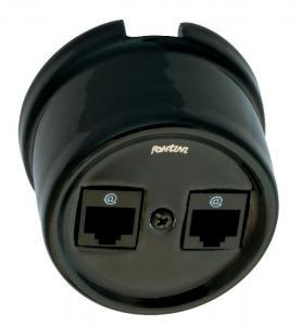 Double RJ45 Socket - Black porcelain surface mounting