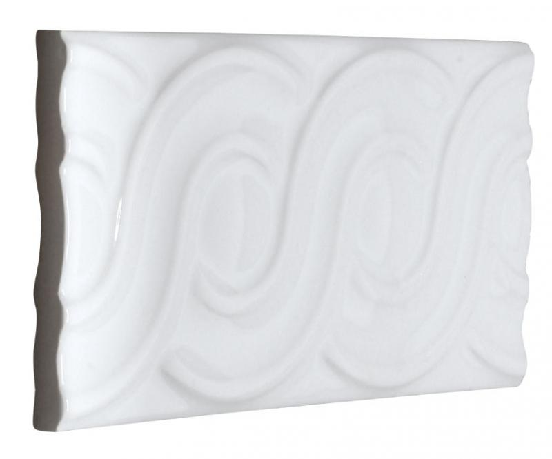Tile Victoria - Decorative loops 7.5 x 15 cm white glossy - old fashioned style - classic interior - retro - vintage style