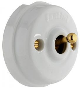Two-Way Switch 10A-250V Dimbler White Porcel./Golden