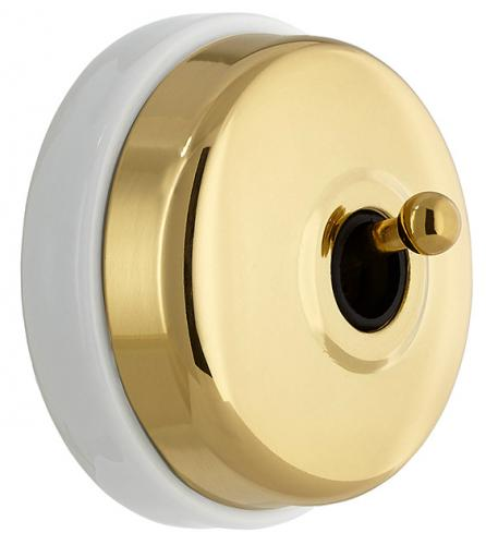 Two-Way Switch 10A-250V Dimbler Metal Black Brass/White Porc - sekelskifte - gammaldags inredning - retro - klassisk stil