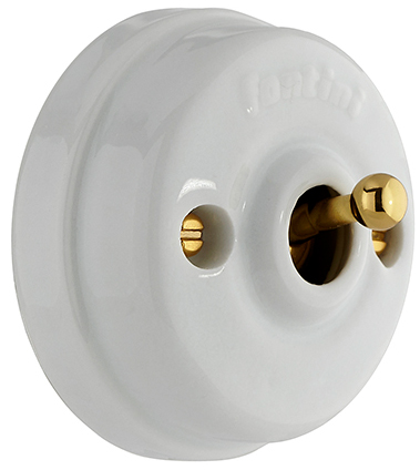 Intermediate Switch - Porcelain/brass, surface mounted