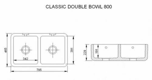 Kitchen Sink Porcelain - Shaws Classic Double 800