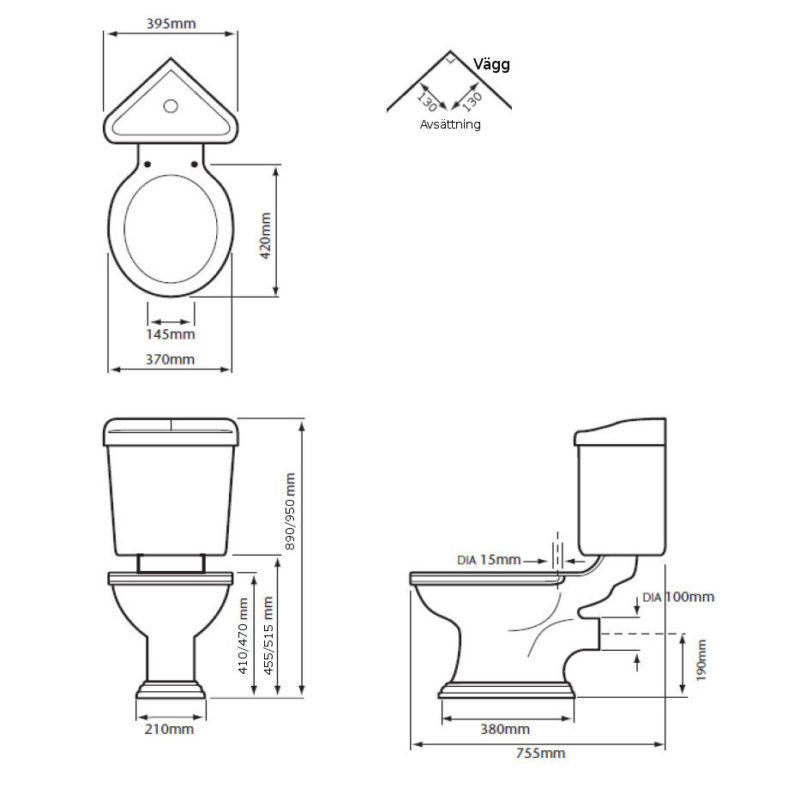 WC - Heritage Dorchester with corner cistern & seat - old fashioned style - vintage interior - classic style - retro