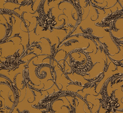 Wallpaper - Dragons ochre/brown/gold - classic style - old fashioned interior - retro - oldschool