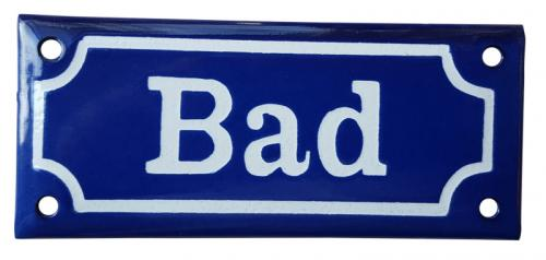 Enamel Door Sign - Bathroom Blue/White