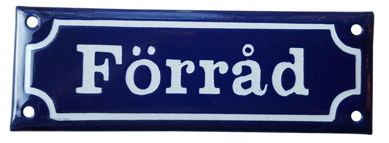 Enamel Door Sign - Förråd Blue/White