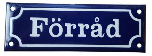 Enamel Door Sign - Förråd Blue/White