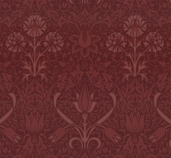 Lim & Handtryck Tapet - Florian röd/ljusröd - gammal stil - gammaldags inredning - sekelskifte