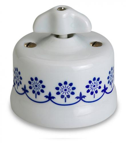 Switch - White porcelain surface mounted blue decor