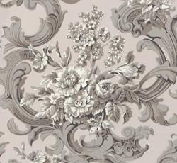 Lim & Handtryck Tapet - Franska buketten grå/rosa - gammaldags inredning - retro - klassisk stil