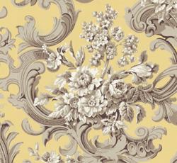 Lim & Handtryck Tapet - Franska buketten grå/gul - gammaldags inredning - retro - gammal stil