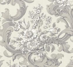 Lim & Handtryck Tapet - Franska buketten vit/grå - gammaldags inredning - retro - klassisk stil
