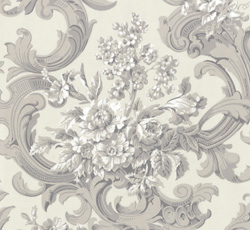 Wallpaper - French bouquet white/grey