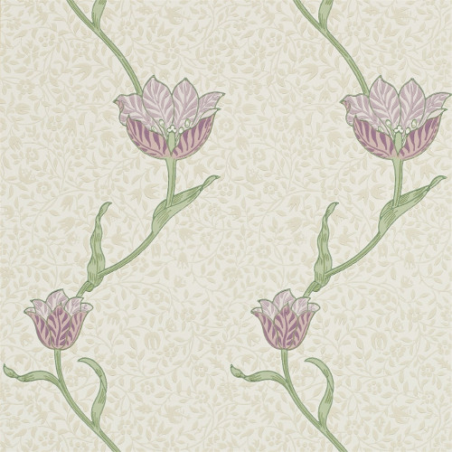 William Morris & Co. Tapet - Garden Tulip Artichoke/Heather - gammaldags inredning - retro - klassisk stil