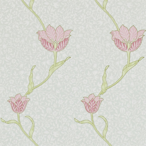 William Morris & Co. Tapet - Garden Tulip Porcelain/Pink - gammaldags inredning - retro - klassisk stil