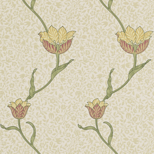 William Morris & Co. Tapet - Garden Tulip Russet/Lichen - gammaldags inredning - retro - klassisk stil