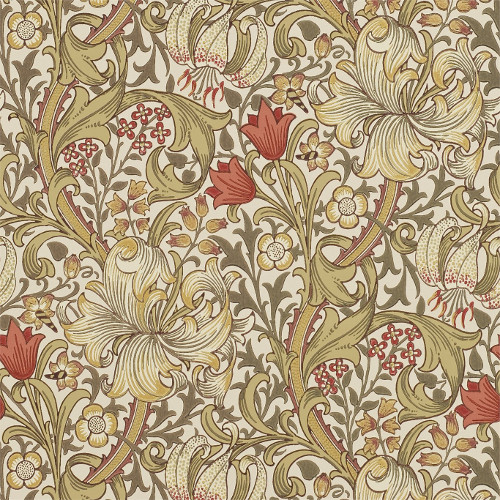 William Morris & Co. Wallpaper - Golden Lily Biscuit/Brick - old fashioned style - vintage interior - retro