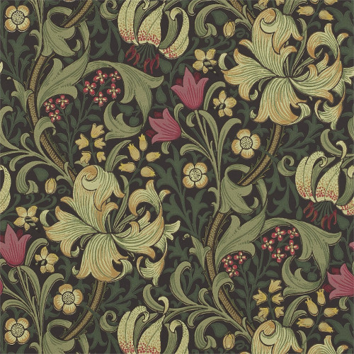 William Morris & Co. Wallpaper - Golden Lily Charcoal/Olive - old fashioned style - vintage interior - retro