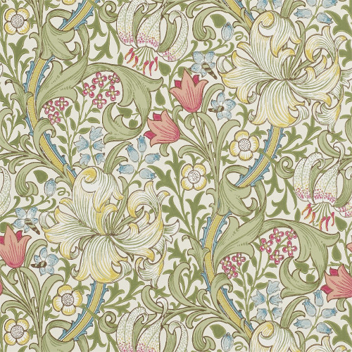 William Morris & Co. Wallpaper - Golden Lily Green/Red - old fashioned style - vintage interior - retro