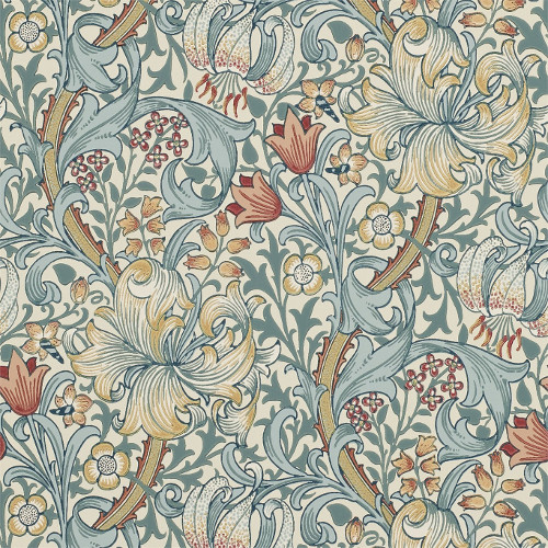 William Morris & Co. Wallpaper - Golden Lily Slate/Manilla - old fashioned style - vintage interior - retro