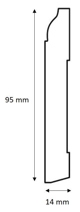 Golvsockel - Jugend 95 mm - sekelskifte - gammaldags inredning - retro - klassisk stil
