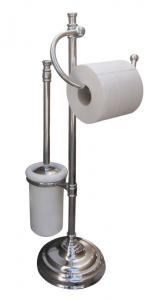 Floorstanding toilet brush & paper holder Brighton - Chrome