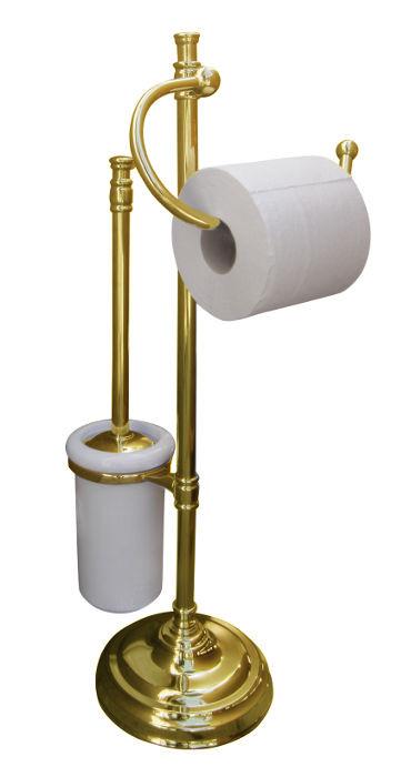Floorstanding toilet brush & paper holder Brighton - Brass