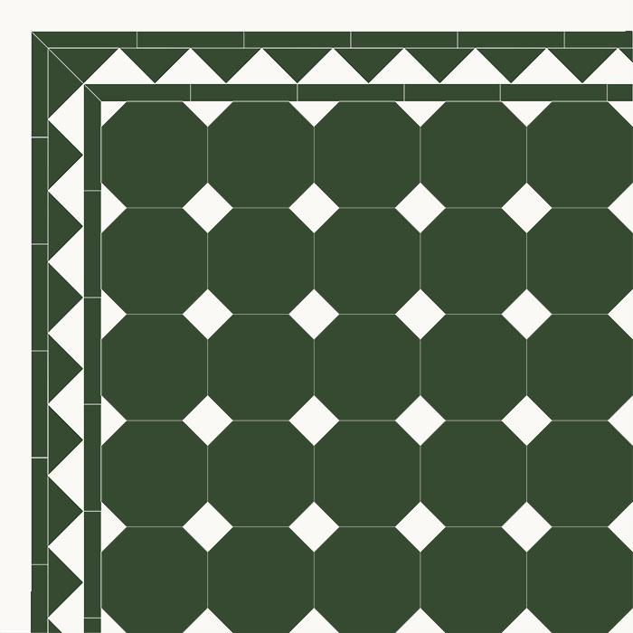Floor tiles - Octagon 15 x 15 cm green/black - old style - vintage interior - retro - classic style