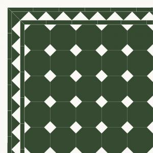 Floor tiles - Octagon 15 x 15 cm green/black