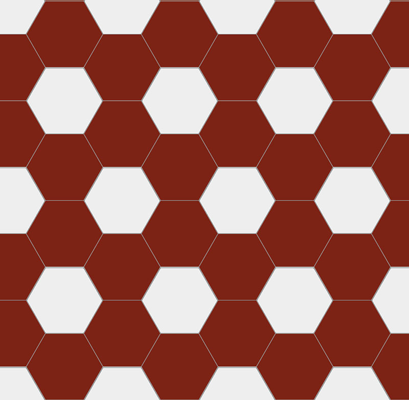 Floor tiles - Hexagon 15 x 15 cm red/white Winckelmans