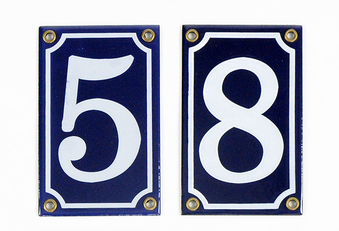 House number - Enamel sign white/blue12x7,5 cm