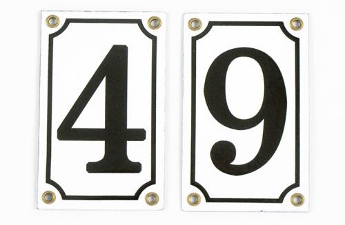 House number - Enamel sign white/black 12x7,5 cm