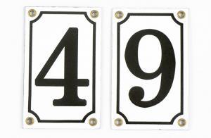 House number - Enamel sign white/black 12x7,5 cm
