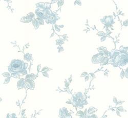 Wallpaper - Rosen white/blue