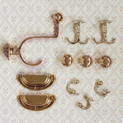 Old-fashioned knobs and hooks - old style - vintage style - classic interior - retro