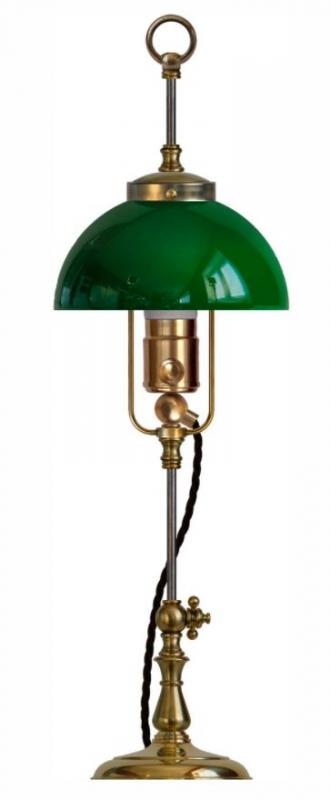 Table Lamp - Lenngren brass green shade - old fashioned style - vintage interior - classic style - retro