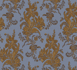 Wallpaper - Liljor blue/yellow