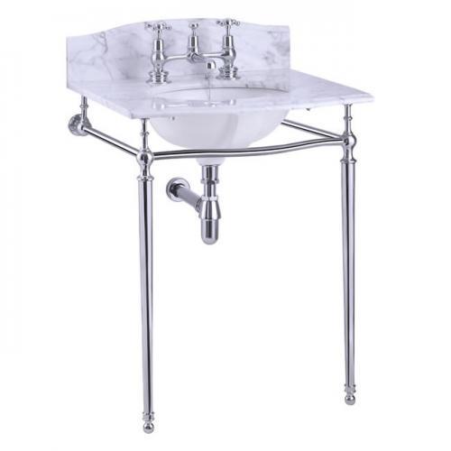 Wash Basin - Burlington Carrara marble 65 cm, chrome stand