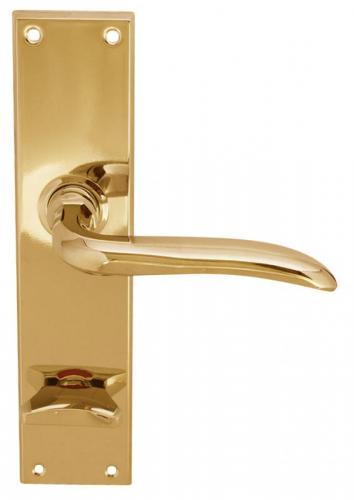 Door handle - With WC lock plate brass