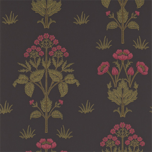 William Morris & Co. Tapet - Meadow Sweet Charcoal/Rose
