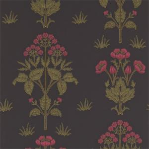 William Morris & Co. Wallpaper - Meadow Sweet Charcoal/Rose