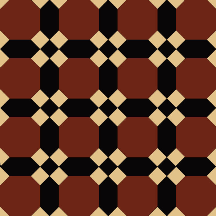 Nottingham - Victorian floor tiles - red/black/cognac