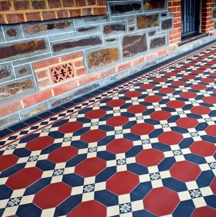 Victorian floor tiles - Winckelmans Nottingham red/black/cognac