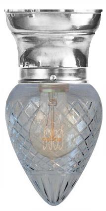 Gammaldags Taklampa - Frödingplafond 80 droppe klarglas förnicklad