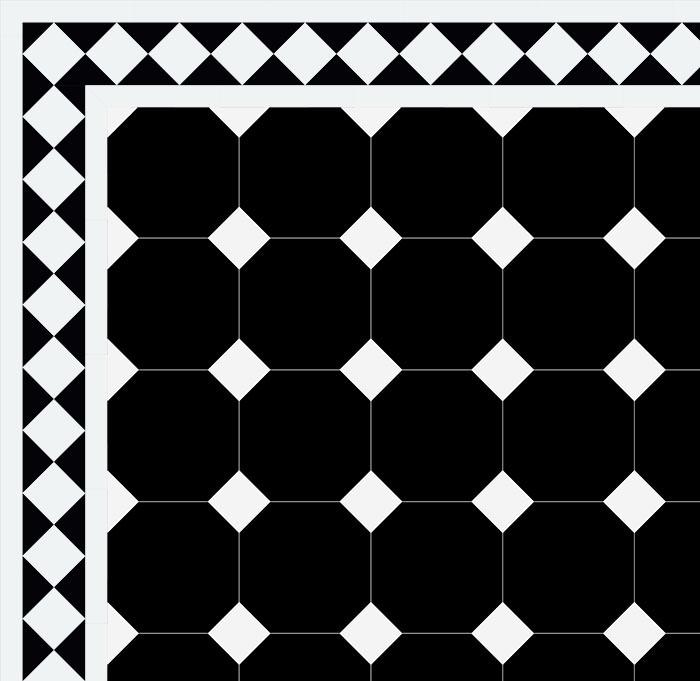 Octagon Floor Tiles 15 X 15 Cm Black Winckelmans Victorian Floor