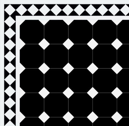 Floor tiles - Octagon 15 x 15 cm black/white