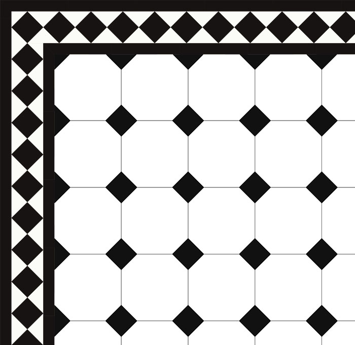 Octagon floor tiles 15 x 15 cm white/black - Winckelmans
